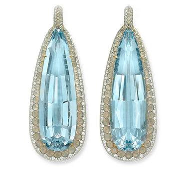 A Pair Of Aquamarine, Agate And Diamond Ear Pendants, By SABBA