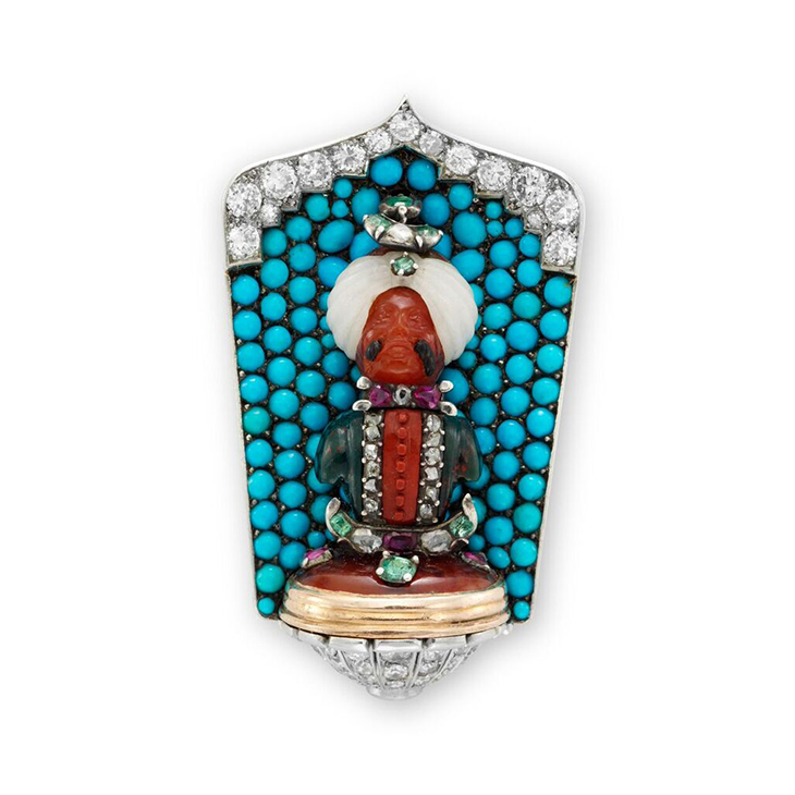 An Art Deco Multi-gem and Diamond 'Maharaja' Clip Pin, by Cartier, circa 1925