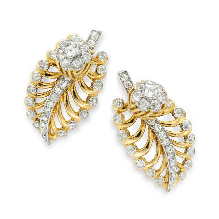 A Pair of Retro Gold and Diamond Ear Clips, by Cartier, circa 1940
