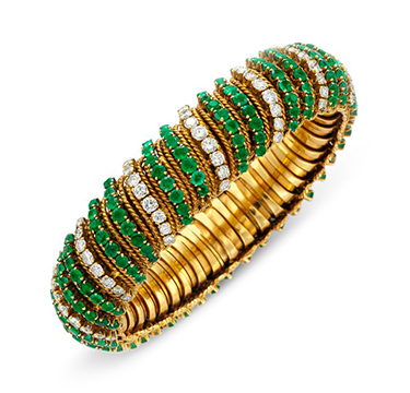 An Emerald and Diamond Bracelet, by Van Cleef & Arpels, circa 1960