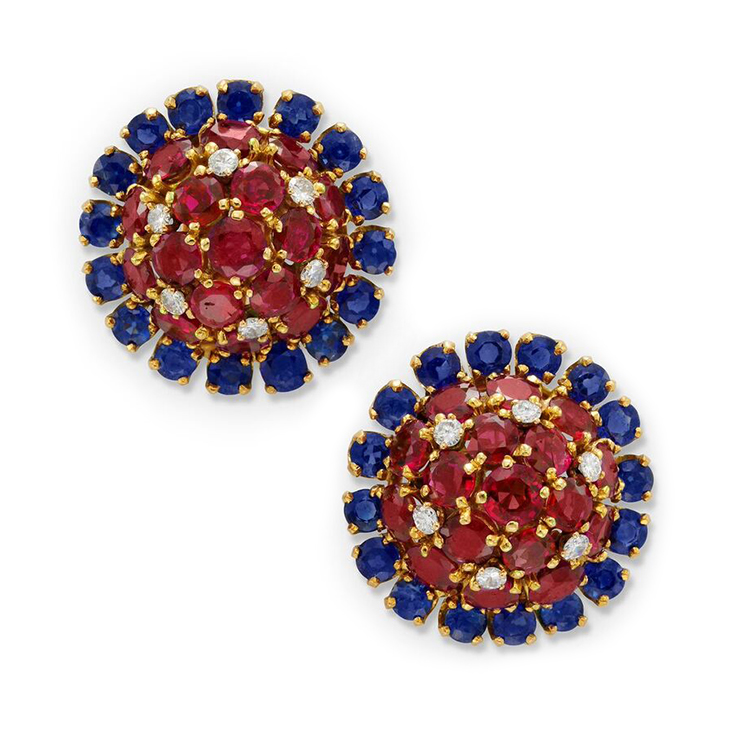 A Pair of Ruby, Sapphire and Diamond Cluster Ear Clips, by Van Cleef & Arpels, circa 1965