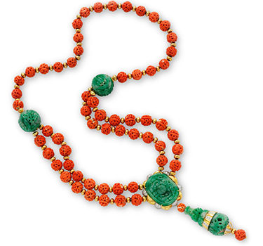 A Carved Coral, Jade And Diamond Sautoir Necklace, By Van Cleef & Arpels, Circa 1965