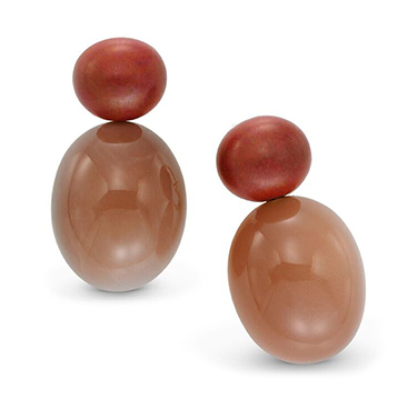 A Par of Moonstone and Patinated Copper Ear Clips, by Hemmerle