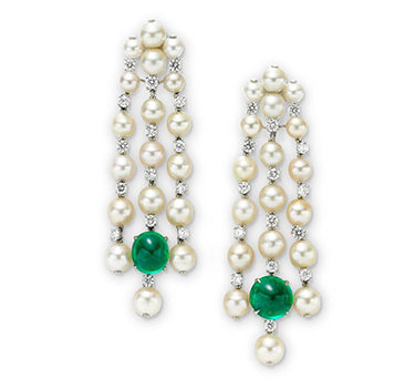 A Pair Of Natural Pearl, Diamond And Emerald Ear Pendants, By SABBA