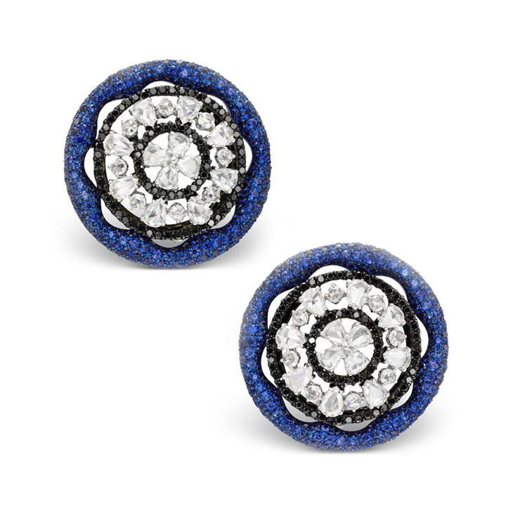 A Pair of Sapphire and Diamond Ear Clips, by Carnet
