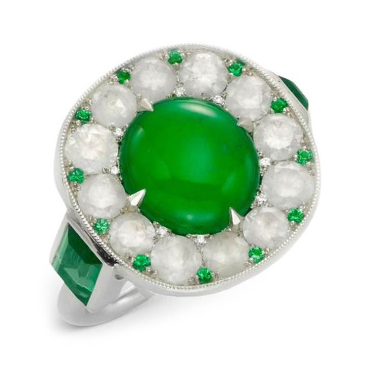 A Jade, Emerald and Diamond Ring, by SABBA