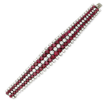 A Burmese Ruby And Diamond Strap Bracelet