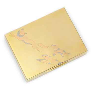 A Tri-colored Gold Cigarette Box, By Cartier, Circa 1935