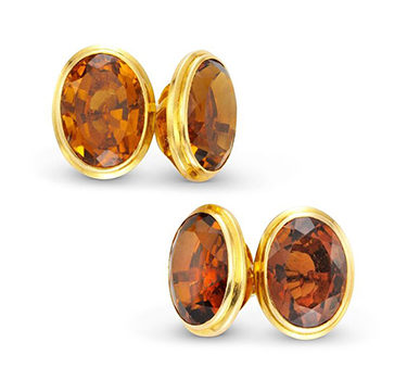 A Pair Of Citrine And Gold Cufflinks, By Cartier, Circa 1935