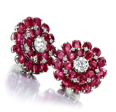 A Pair of Burmese Ruby and Diamond Flower Ear Clips, by Cartier, circa 1935