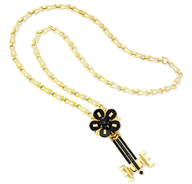 "A Carved Onyx and Diamond ""Key to my Heart"" Pendant Necklace, by Cartier, circa 1970"