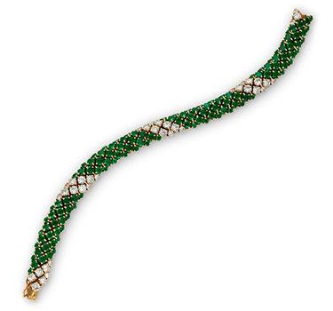 An Emerald And Diamond Bracelet, By Van Cleef & Arpels, Circa 1960