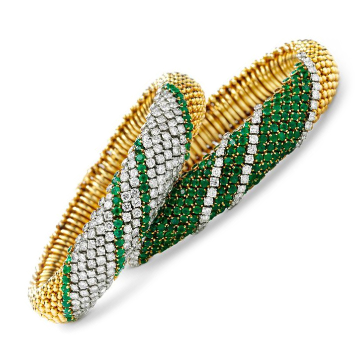 A Pair of Emerald and Diamond 'Couscous' Bracelets, by Van Cleef & Arpels, circa 1960