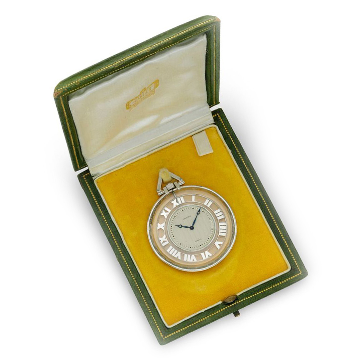 An Art Deco Rock Crystal and Platinum Pocket Watch, by Cartier, circa 1925