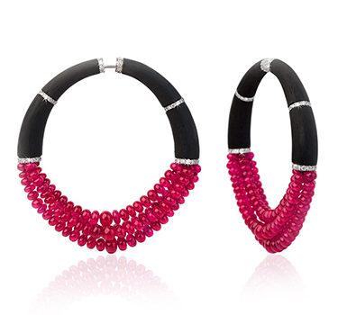 A Pair Of Ruby Bead, Diamond And Carbon Fiber Earrings, By Fabio Salini