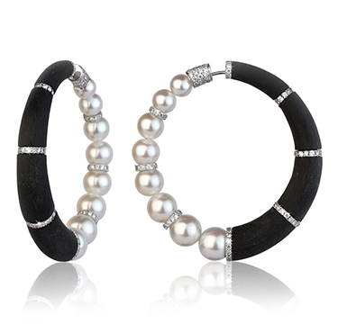 A Pair of Pearl, Diamond and Carbon Fiber 'Cerchi' Hoop Earrings, by Fabio Salini