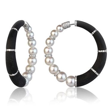 A Pair of Pearl, Diamond and Carbon Fiber 'Cerchi' Hoop Earrings, by Fabio Salini