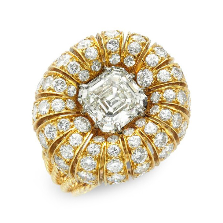 A Diamond and Gold Bombe Ring