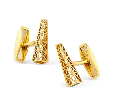 A Pair Of Gold 'Oil Rig' Cuffinks