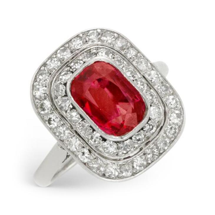 An Art Deco Burmese Ruby and Diamond Plaque Ring, circa 1920