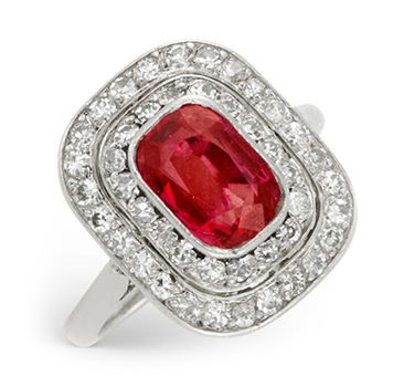 An Art Deco Burmese Ruby And Diamond Plaque Ring, Circa 1920
