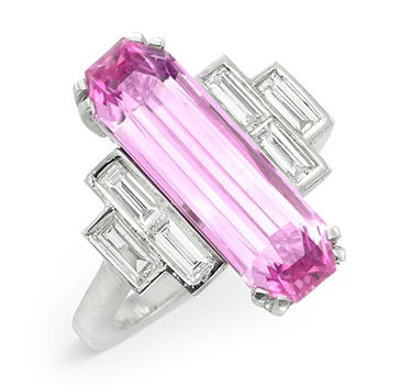An Early 20th Century Elongate Baguette-cut Pink Topaz And Diamond Ring