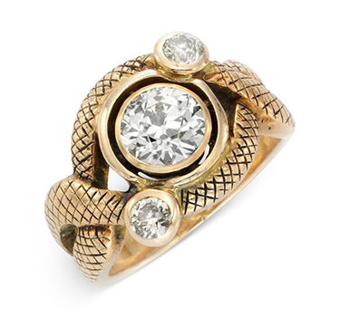 An Antique Diamond And Gold Serpent Ring, Circa 19th Century