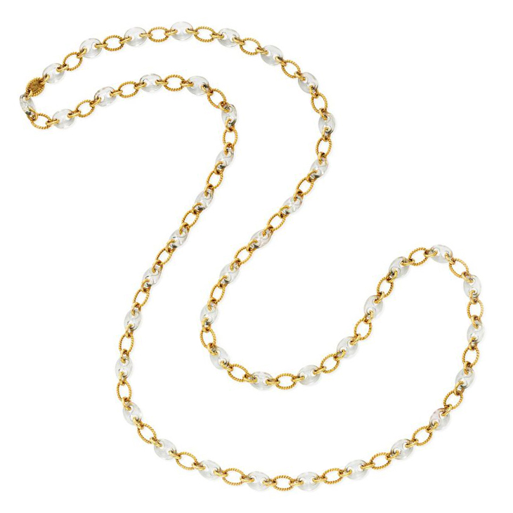 A Rock Crystal and Gold Long Chain Necklace, by Boucheron, circa 1975