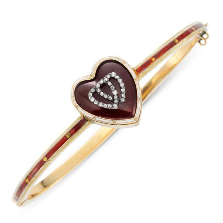 An Antique Enamel and Diamond 'Twin Hearts' Bangle Bracelet