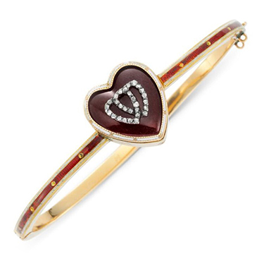 An Antique Enamel and Diamond 'Twin Hearts' Bangle Bracelet