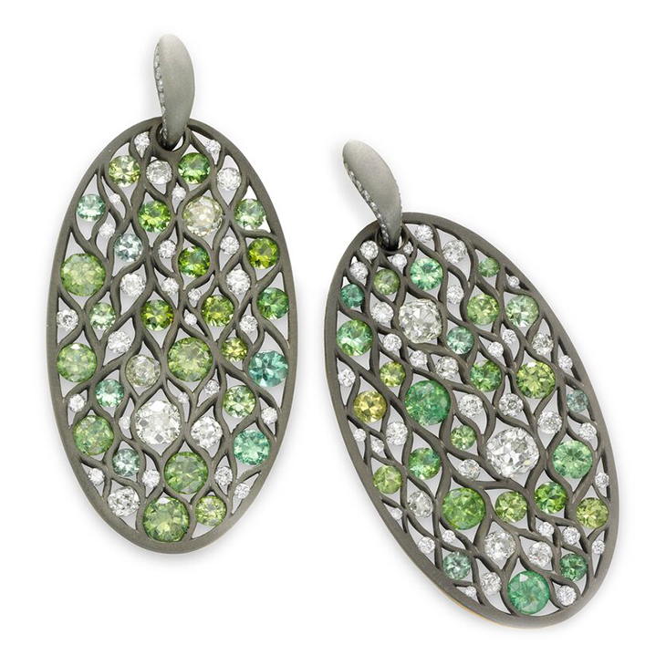 A Pair of Demantoid Garnet and Diamond Ear Pendants, by SABBA