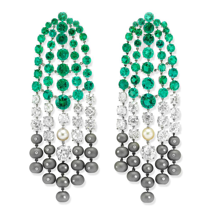 A Pair of Emerald, Diamond, Pearl and Titanium Ear Pendants, by SABBA
