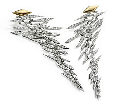 A Pair Of Diamond, Gold And Platinum Ear Pendants, By SABBA