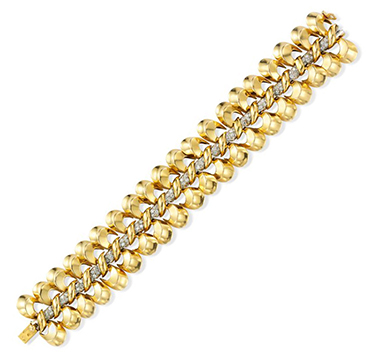 A Retro Gold and Diamond Bracelet, by Van Cleef & Arpels, circa 1945
