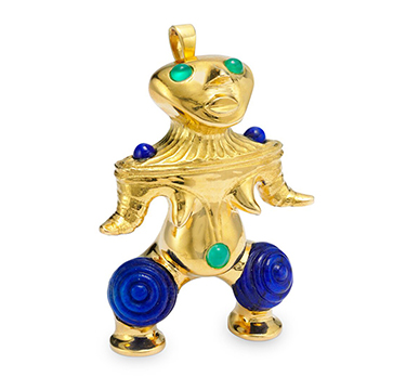 A Multi-gem and Gold Pre-columbian Figure Brooch, by Van Cleef & Arpels, circa 1970