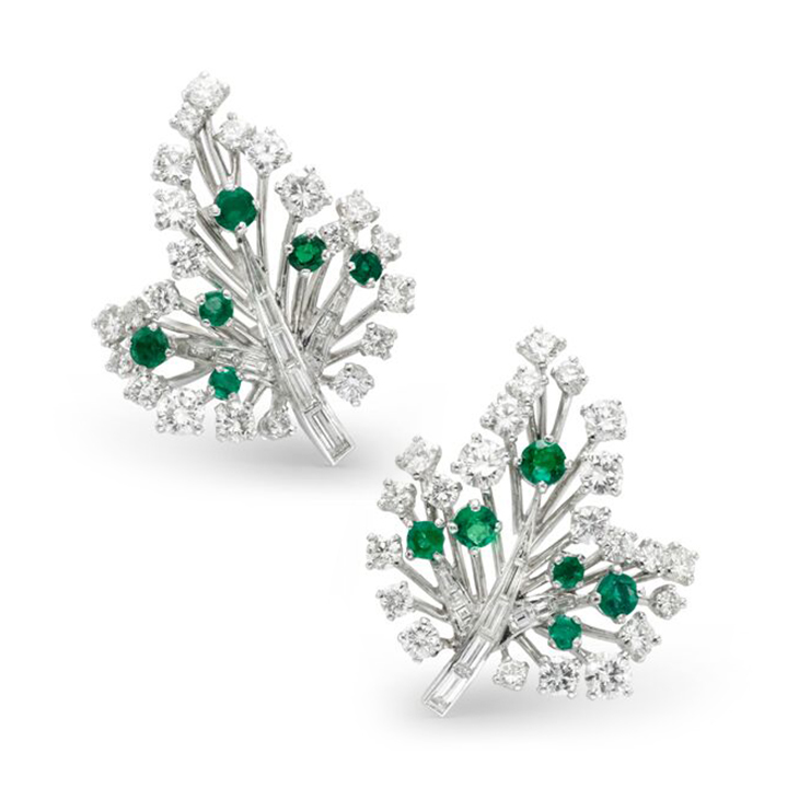 Emerald and Diamond Leaf Ear Clips, by Cartier, circa 1945