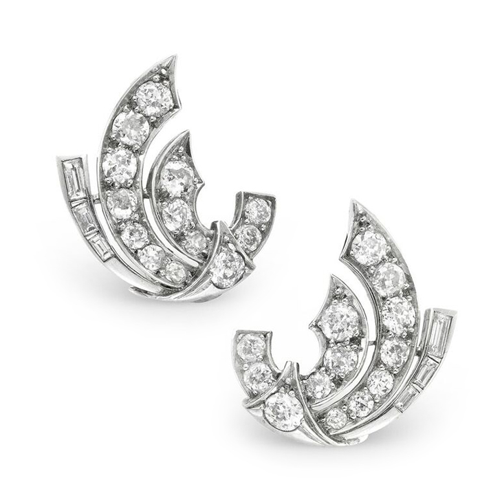 A Pair of Early 20th Century Diamond Ear Clips, circa 1940