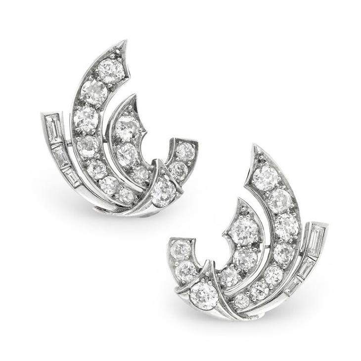 A Pair of Early 20th Century Diamond Ear Clips, circa 1940