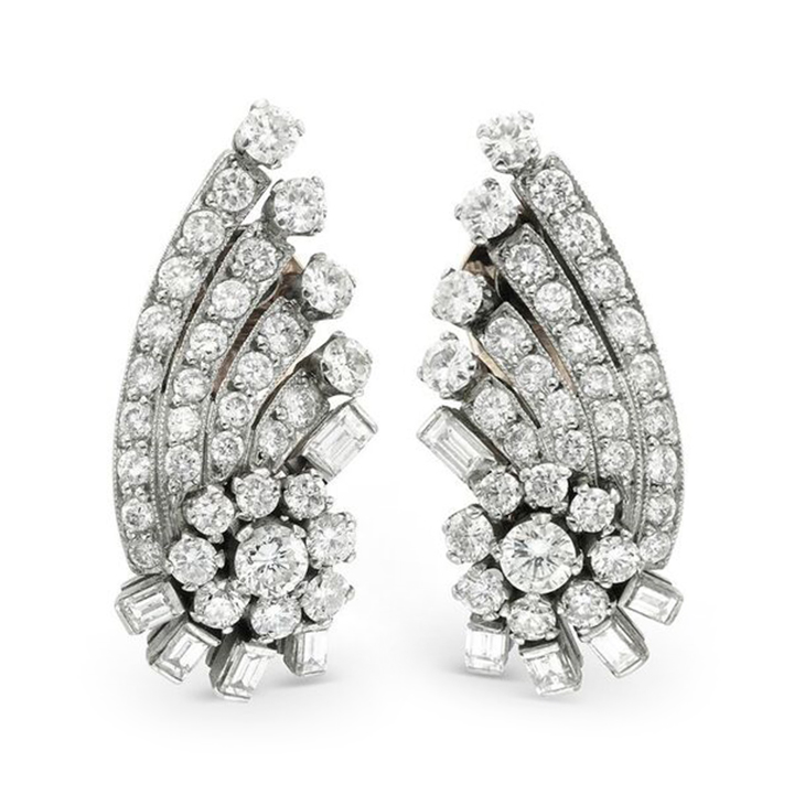 A Pair of Diamond Ear Clips, circa 1960