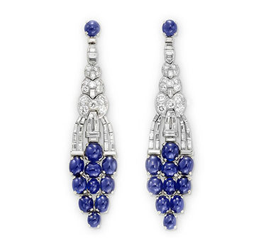A Pair Of Art Deco Sapphire And Diamond Ear Pendants, Circa 1925