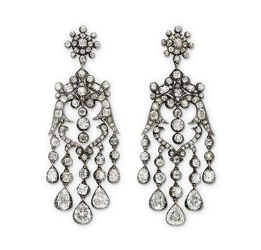 A Pair of Antique Diamond Ear Pendants, circa 1850