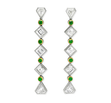 A Pair Of Early 20th Century Demantoid Garnet And Diamond Ear Pendants