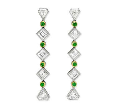 A Pair Of Early 20th Century Demantoid Garnet And Diamond Ear Pendants