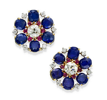 A Pair Of Sapphire, Ruby And Diamond Cluster Ear Clips