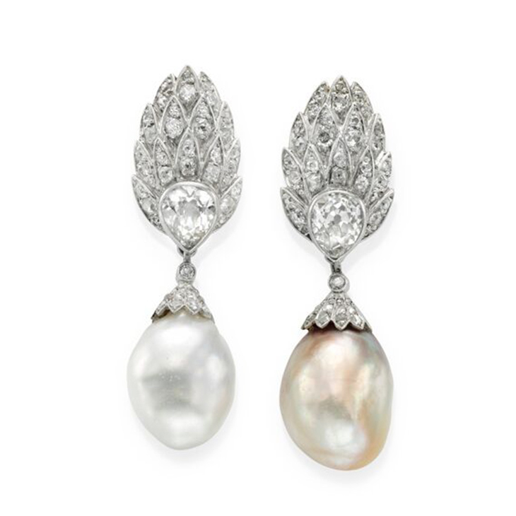 A Pair of Natural Pearl and Diamond Ear Pendants, circa 1935