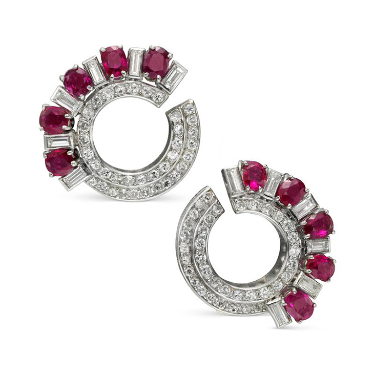 A Pair of Ruby and Diamond Crescent Shaped Ear Clips, circa 1930