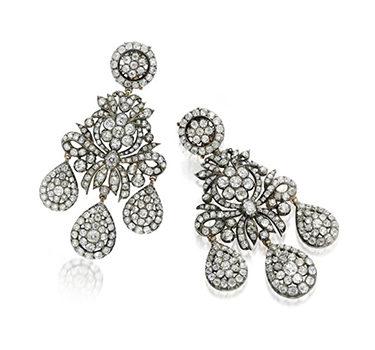 An Important Pair Of Georgian Girandole Diamond Ear Pendants, Circa 1800