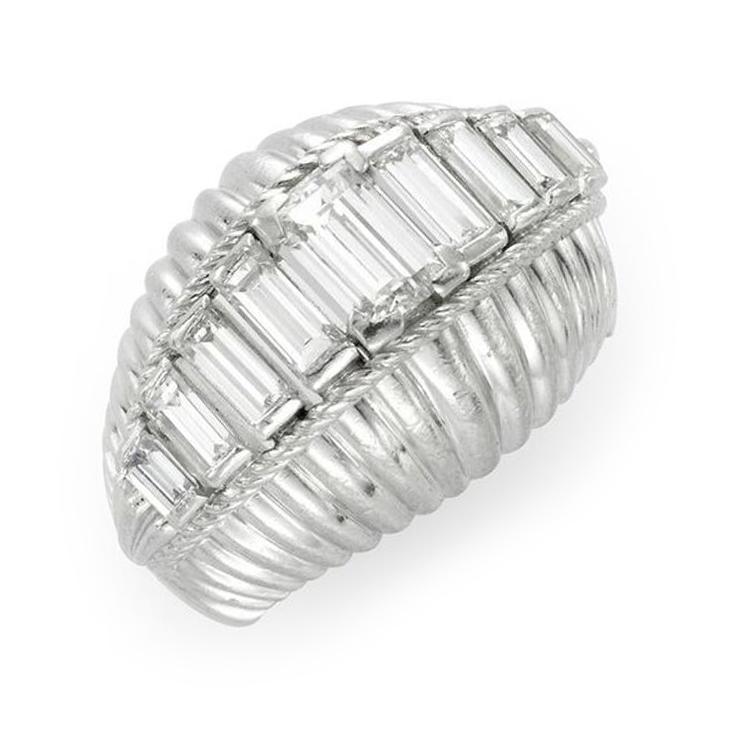 A Mid Century Diamond Bombe Ring