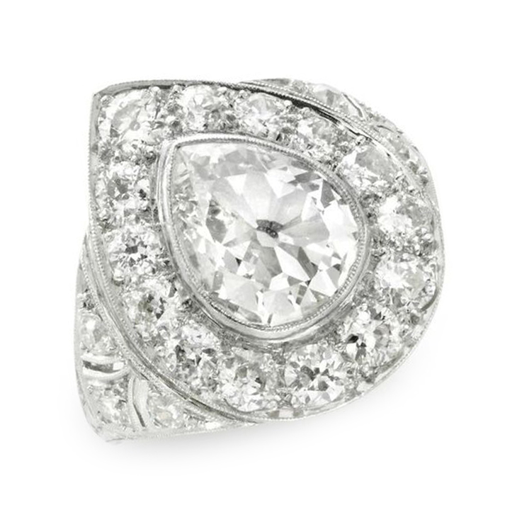 An Early 20th Century Diamond Plaque Ring