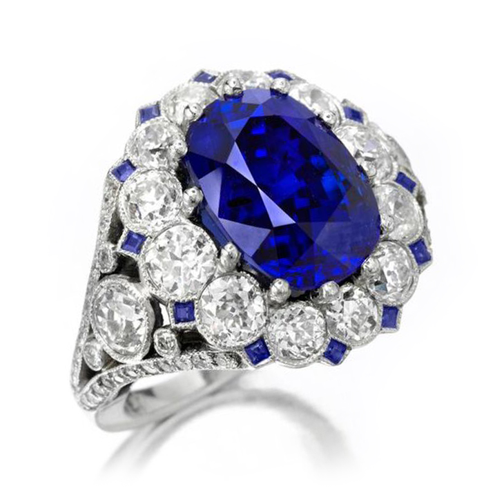 A Mid Century Burmese Sapphire and Diamond ring